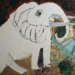 Elefante e scimmia, Tecnica mista su tela - 93x107 - 2010